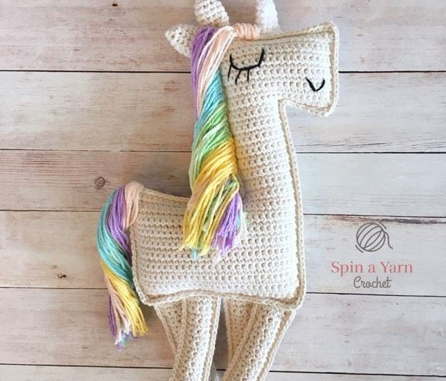 75+ Magically Inspiring Unicorn Crafts, DIYs, Foods and Gift Ideas: Ragdoll Unicorn Crochet Pattern from Spin A Yarn Crochet
