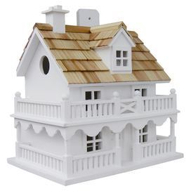 "White birdhouse with a shingled roof and removable back wall for easy cleaning. Product: BirdhouseConstruction Material: Ply-board, hardwoods, pine and polyresinColor: WhiteFeatures: Removable back wall for easy cleaningVentilation and drainage1.25"" Hole openingDimensions: 10.25"" H x 10.75"" W x 7.25"" DNote: No chemicals or sealants of any kind are used that can be harmful to wildlifeCleaning and Care: Clean with polyurethane product that is recommended for marine use and UV rated so that it…"