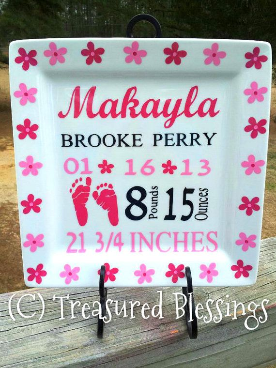 33 best birth announcement plates images on pinterest painted idea for new borns negle Images