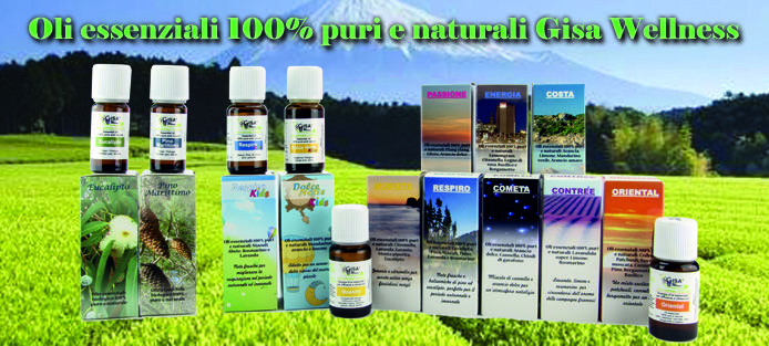 Gamma di oli essenziali Gisa Wellness 100% puri e naturali -  Gisa Wellness 100% pure and natural Essential oils - www.gisawellnes.com