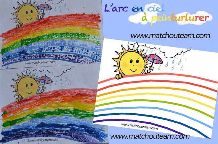 L'arc en ciel à peinturlurer |     Il pleut, il fait du soleil....   Bonjour Mr l'arc en ciel.