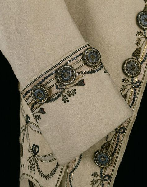 Detail of Gentleman's Frockcoat- 1770-1779, England. Wool and silk, hand woven and hand sewn, silver, gold. Love this!