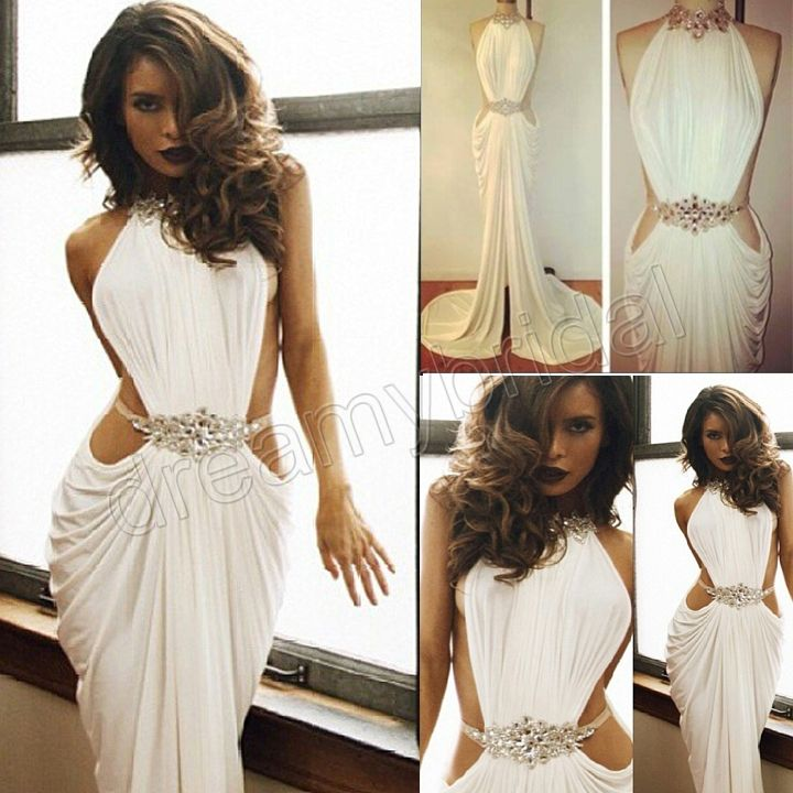 Real Made Sexy Vestidos de Fiesta Crystal Beaded High Neck White Mermaid Long Prom Dresses 2014 party dresses $150.00