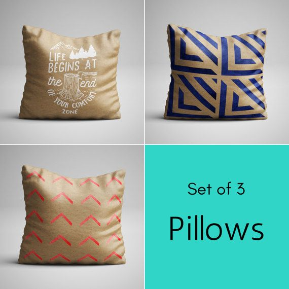 Throw Pillow Set (3) - Faux Kraft Look - Geometric Design - Brown Decorative Pillows - Shabby Chic Pillow with insert
