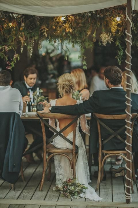 Love this autumnal wedding setting and just look at the back of that dress - saucy!