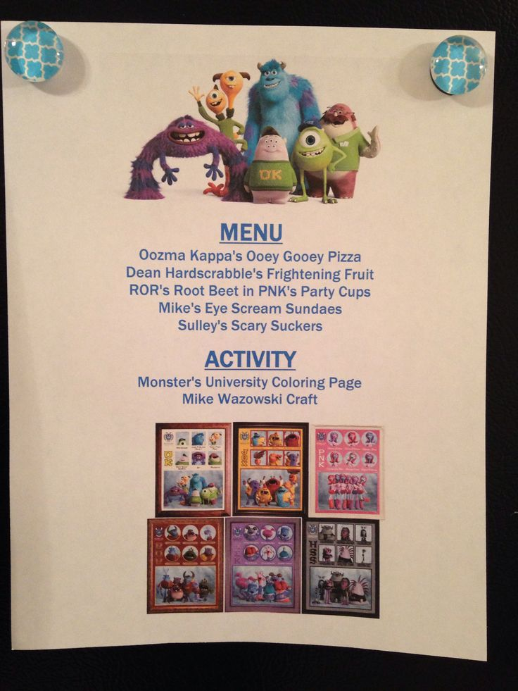 Disney Movie Night Menu: Monsters University  annette@wishesfamilytravel.com                                                                                                                                                      More