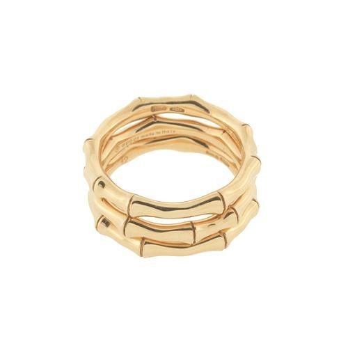 9966cfb551379 Gucci 18k Gold Set of Three Stackable Bamboo Rings - Size 7   Gucci ...