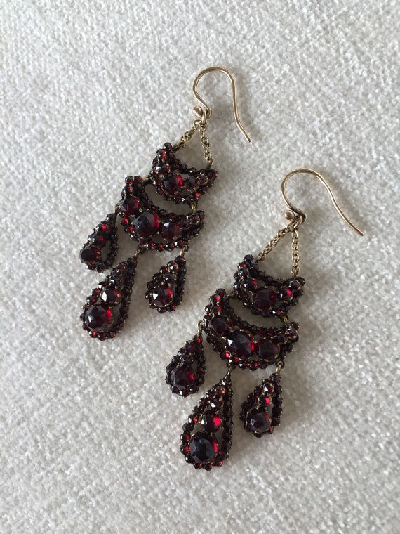 Antique Bohemian Garnet Earrings By Bryan Taylor On Etsy Vintage Jewelry Group Board In 2018