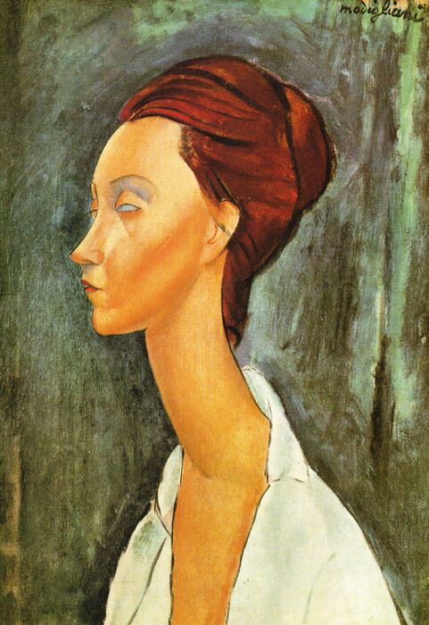"Amedeo Modigliani, ""Lunia Czechovska,"" probably early 1900s // A slender, long neck and empty eyes make this portrait impressive and yet creepy."