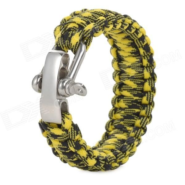 Brand: N/A; Quantity: 1; Color: Black + yellow; Material: Nylon + stainless steel; Functions: Rope length: 3~3.8m; Quick release life line; Can be used to stop bleeding, traps, tents and other temporary strapping; Best use: Mountaineering, travel, camping; Packing List: 1 x Hand rope; http://j.mp/VIKhHk