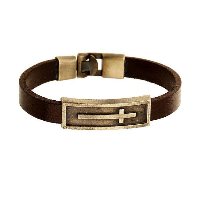 Brown Genuine Leather Bracelet With Cross