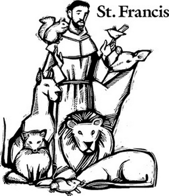 St. Francis of Assisi Catholic coloring page. Feast day is October 4th.