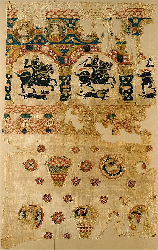 Fragment from a Coptic Hanging. Object Name: Fragment. Date: 5th century. Geography: Egypt. Medium: Linen, wool; plain weave, tapestry-weave.