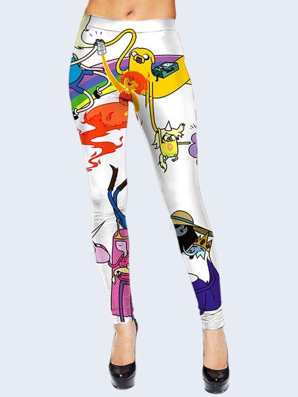 Adventure Time Leggings, White Leggings, Finn and Jake, Leggings for Women, Multicolor Legging