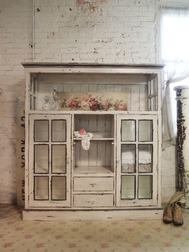 Painted Cottage Chic Shabby Cape Cod Farmhouse Cabinet [CC28] - $995.00 : The Painted Cottage, Vintage Painted Furniture