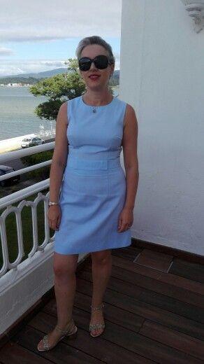 Vestido Azul piquet. By Alda Faria