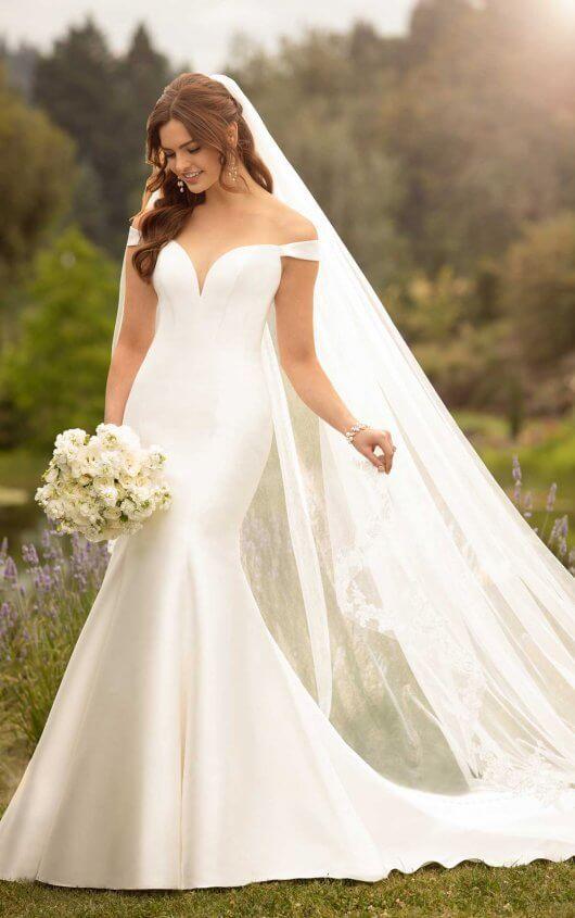 5988d1b3b6a3a D2477 Simple Off-the-Shoulder Wedding Gown by Essense of Australia