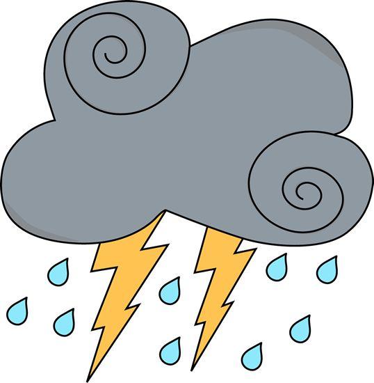 Gray Swirly Cloud with Lightning and Rain