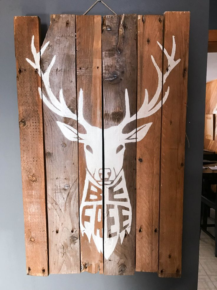 Rustic stag head (Dear) on pallet wood by CreationsSauvages on Etsy