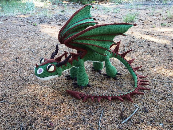 Terrible Terror crochet dragon 2 - green and brown by silvergirl919.deviantart.com on @DeviantArt       Inspiration! I love dragons