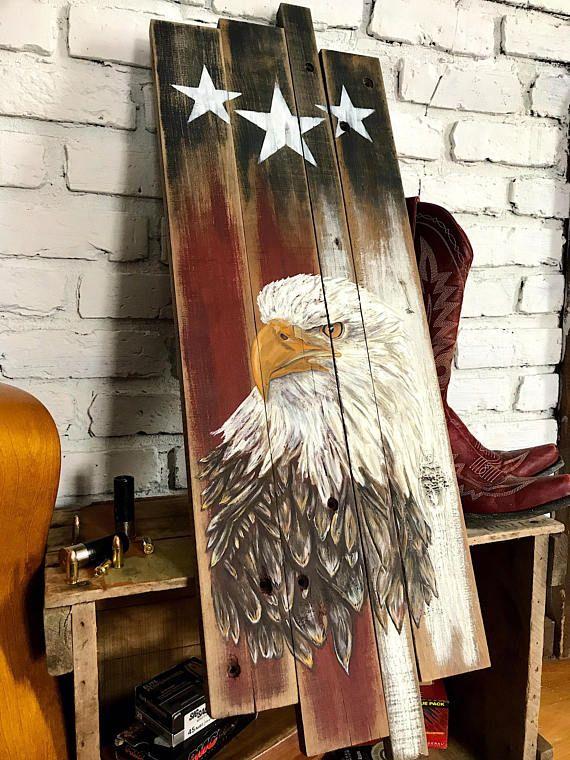 Distressed Wood Flag Bird Wall Art Reclaimed Wood Flag Rustic Bird Decor Wood American Flag Flag Wall Art Bird Decor Bird Art American Flag Wood Wood Flag Rustic American Flag