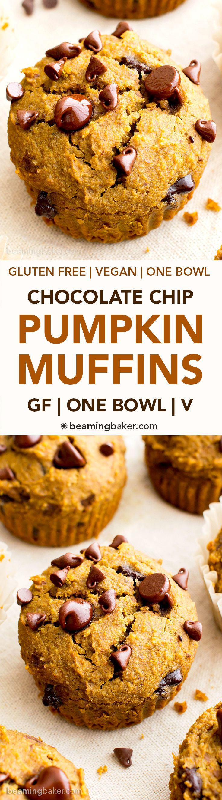 One Bowl Gluten Free Pumpkin Chocolate Chip Muffins (V, GF, DF): a one bowl recipe for perfectly moist pumpkin chocolate chip muffins made with whole ingredients. #Vegan #GlutenFree #DairyFree | BeamingBaker.com