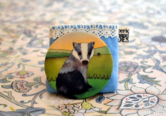 Fabric Curious Badger Pocket Mirror by ceridwenDESIGN on Etsy