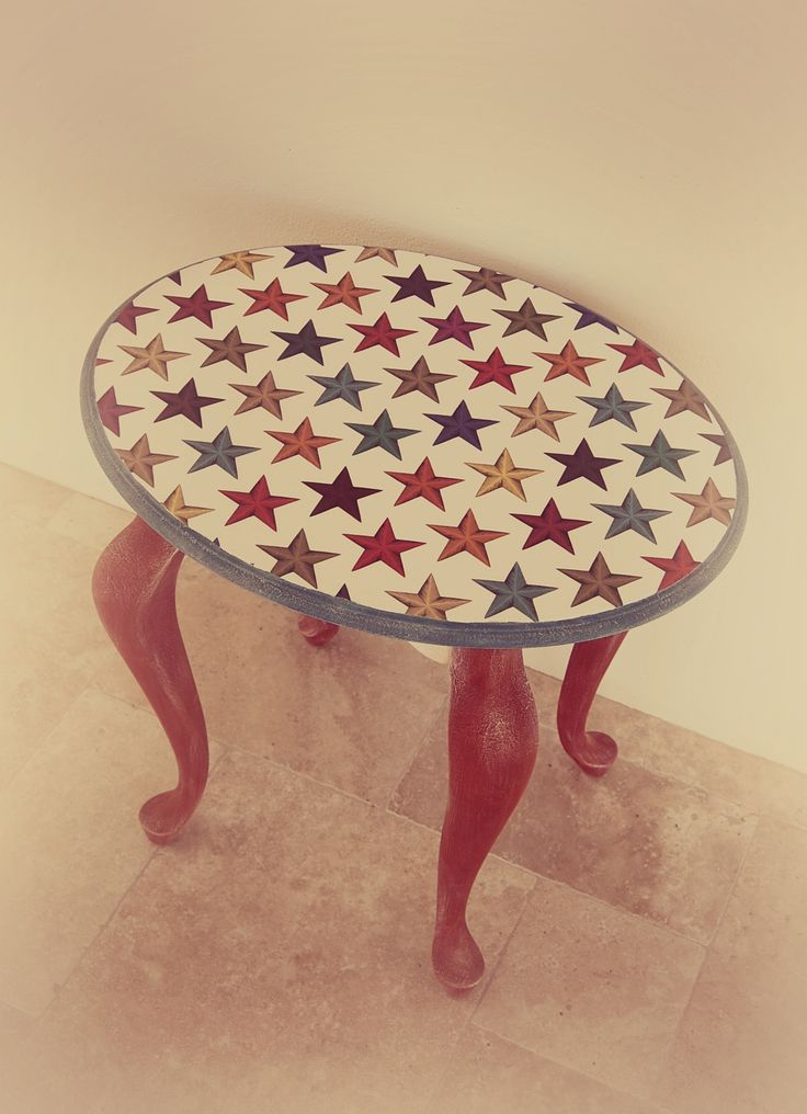 Hand Painted Accent Table Using Annie Sloan Chalk Paint And Decoupaged Table  Top. Red Legs