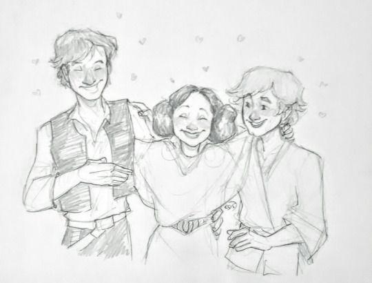 Han Solo, Leia , and Luke skywalker