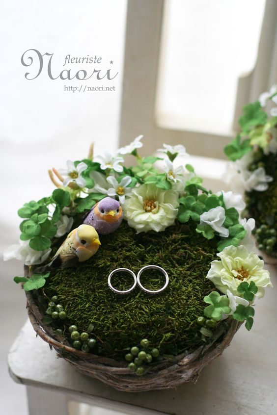 Bird's nest ringpillow clover white 2014    鳥の巣のリングピロー クローバーホワイト wedding: