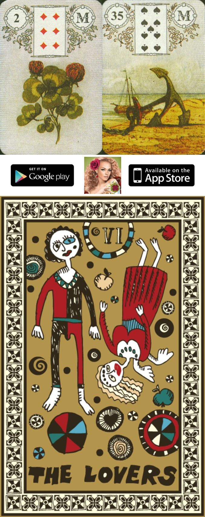 Get the FREE mobile app on your phone or tablet and have fun vintage german lenormand, cafe lenormand and lenormand cards wiki, french cartomancy lenormand and lenormand flowers.