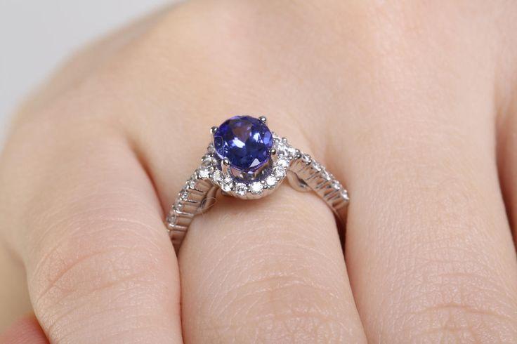 15%off 18k Tanzanite Natural Gem Halo Ring Solitaire Diamond