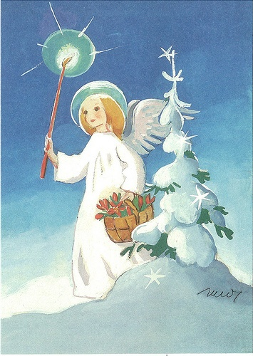 Martta Wendelin, Finland:   Angel in snow by little Christmas tree