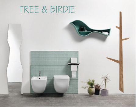 BIRDIE e TREE design e colore in bagno