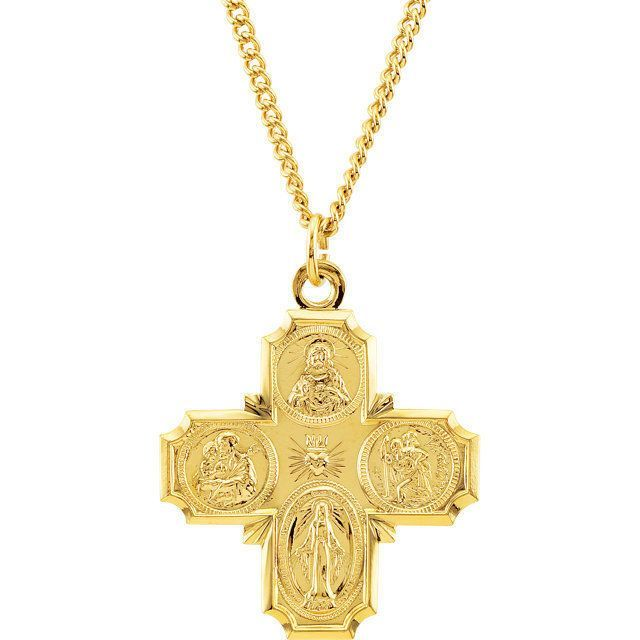 24K Gold Plated 34.51x28.96mm Four-Way Cross 24 Necklace