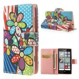 Lumia 520 värikkäät kukat lompakkokotelo.