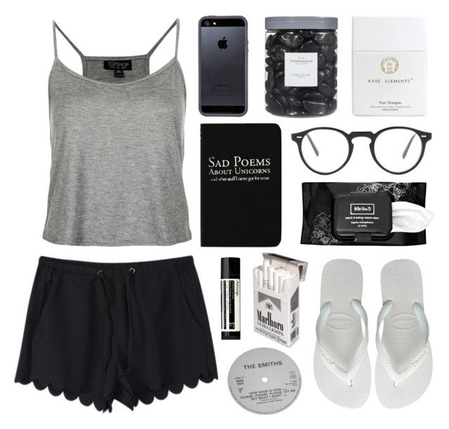 """When The Poet Sings"" by green-wild ❤ liked on Polyvore featuring Topshop, Tavik Swimwear, Rich and Damned, Havaianas, Threshold, Oliver Peoples, Kat Von D and Aesop"