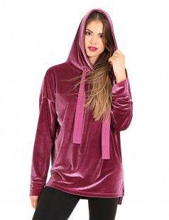 Velour hoodie sweatshirt - Pink/Purple