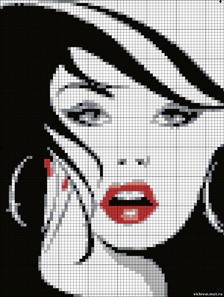point de croix visage de femme moderne - cross stitch modern woman's face