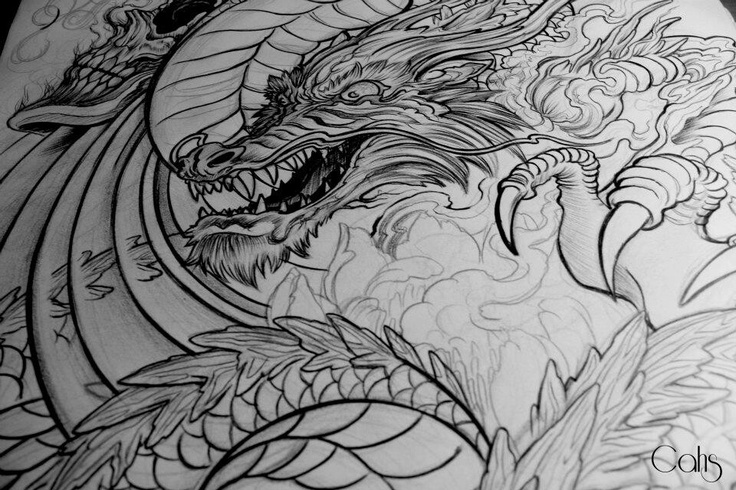 Boceto de dragon japones por Bailo