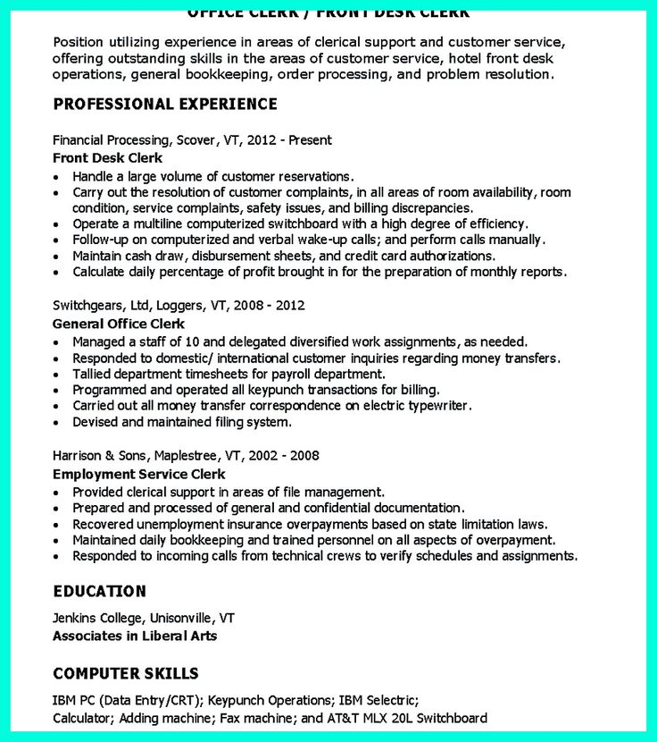 Best Office Clerk Images On   Resume Templates