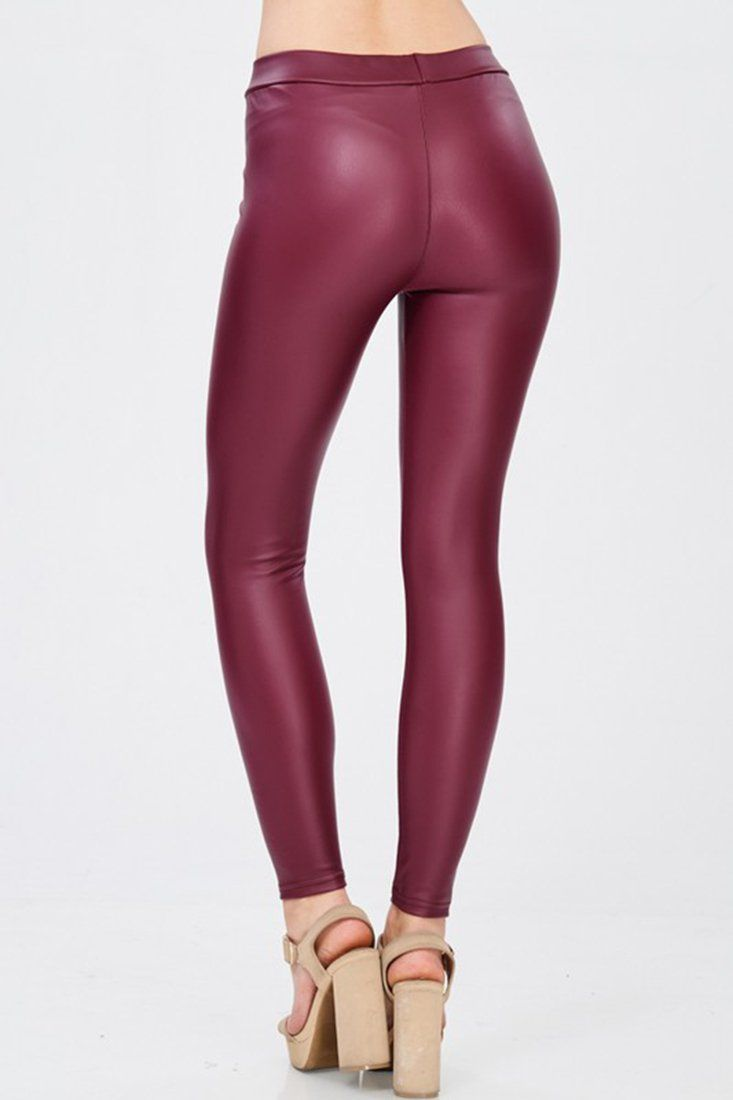 1d2c43c75ae Solid Faux Leather Gloss Matte Leggings in 2019