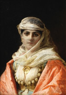 FREDERICK-ARTHUR BRIDGMAN ; YOUNG WOMAN FROM CONSTANTINOPLE ; LOCATED, SIGNED AND DATED LOWER LEFT CONSTANTINOPLE 1880 ; OIL ON CANVAS