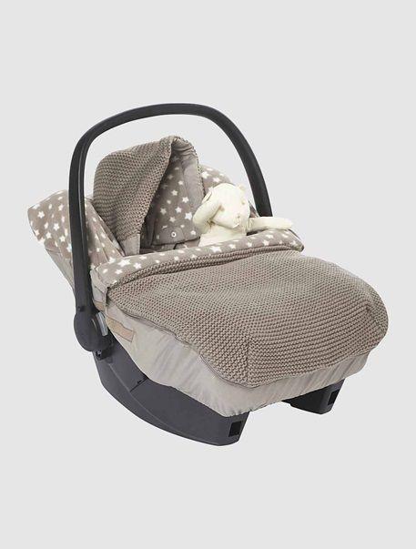 Gestrickter Fußsack für Babyschalen, Sterne BEIGE/STERNE