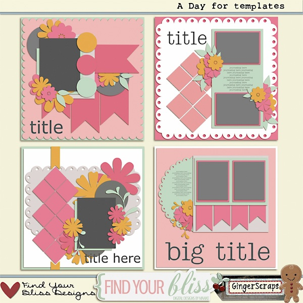 Day for Templates by Find Your Bliss Designs, $3.25: I'm a HUGE FYB fan and these templates are just gorgeous. Stop by GingerScraps and snag the set for just a few bucks :)Scrapbook Ideas, Crafts Ideas, Bliss Design, Digital Scrapbook, Finding, Scrapbook Layout, Scrapbookingcardspap Crafts, Awesome Stuff, Scrapbooking Cards Pap Crafts