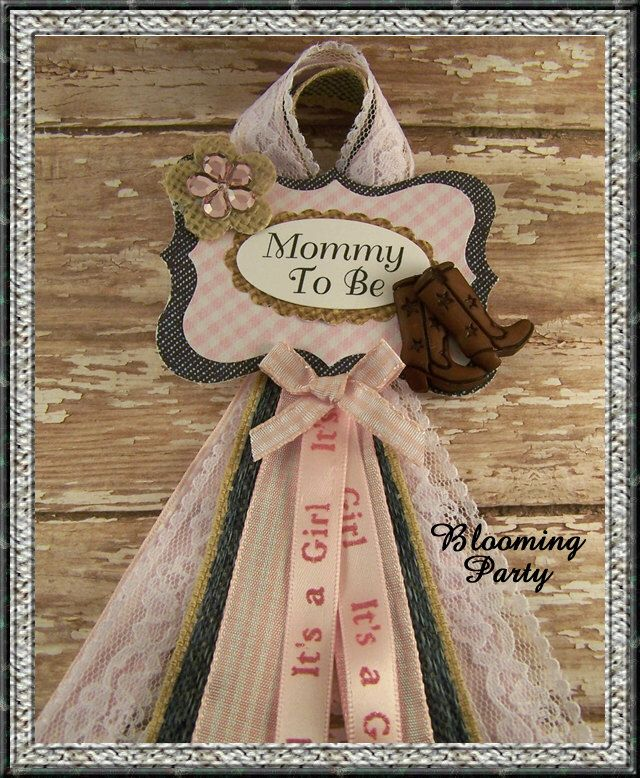 Pink Western Mommy To Be Corsage Cowgirl Mommy Badge Pink Western Baby Shower Badge Pink Cowgirl Baby Shower Pin by BloomingParty on Etsy https://www.etsy.com/listing/244141727/pink-western-mommy-to-be-corsage-cowgirl