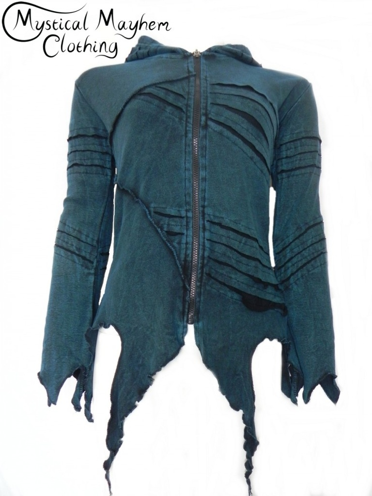 Bares Ragged Hem Pixie Hooded Top Turquoise Blue Hippy, Emo, Hippie Clothing