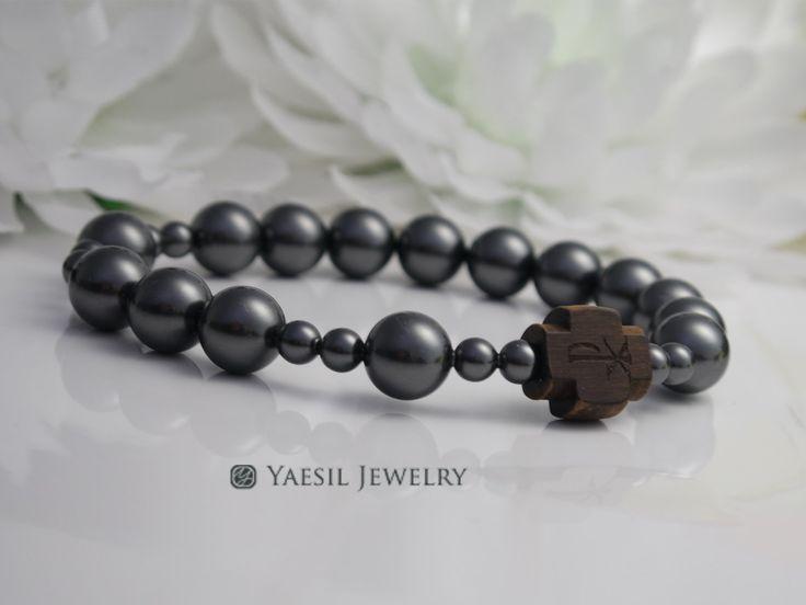 Men's Black Pearl Rosary Bracelet, Metal Free Bracelet, Gift for Dad by YaesilJewelry on Etsy