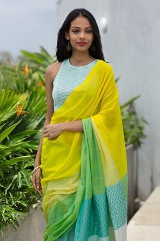 An elegant lemon yellow handloom saree