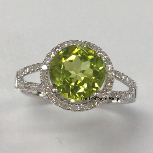 Peridot Engagement Promise Ring,Round Cut 8mm,Halo .35ct Diamond 14K White Gold